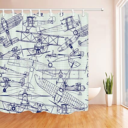 Chengsan Airplane Decor Shower Curtain By Digital Old Drawings Classic Aged Dated Flights Vintage