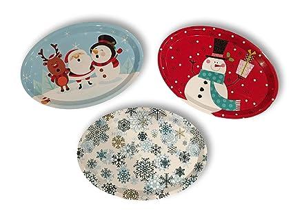 Melamine Christmas Platters.Amazon Com Set Of Three Large Oval Christmas Holiday