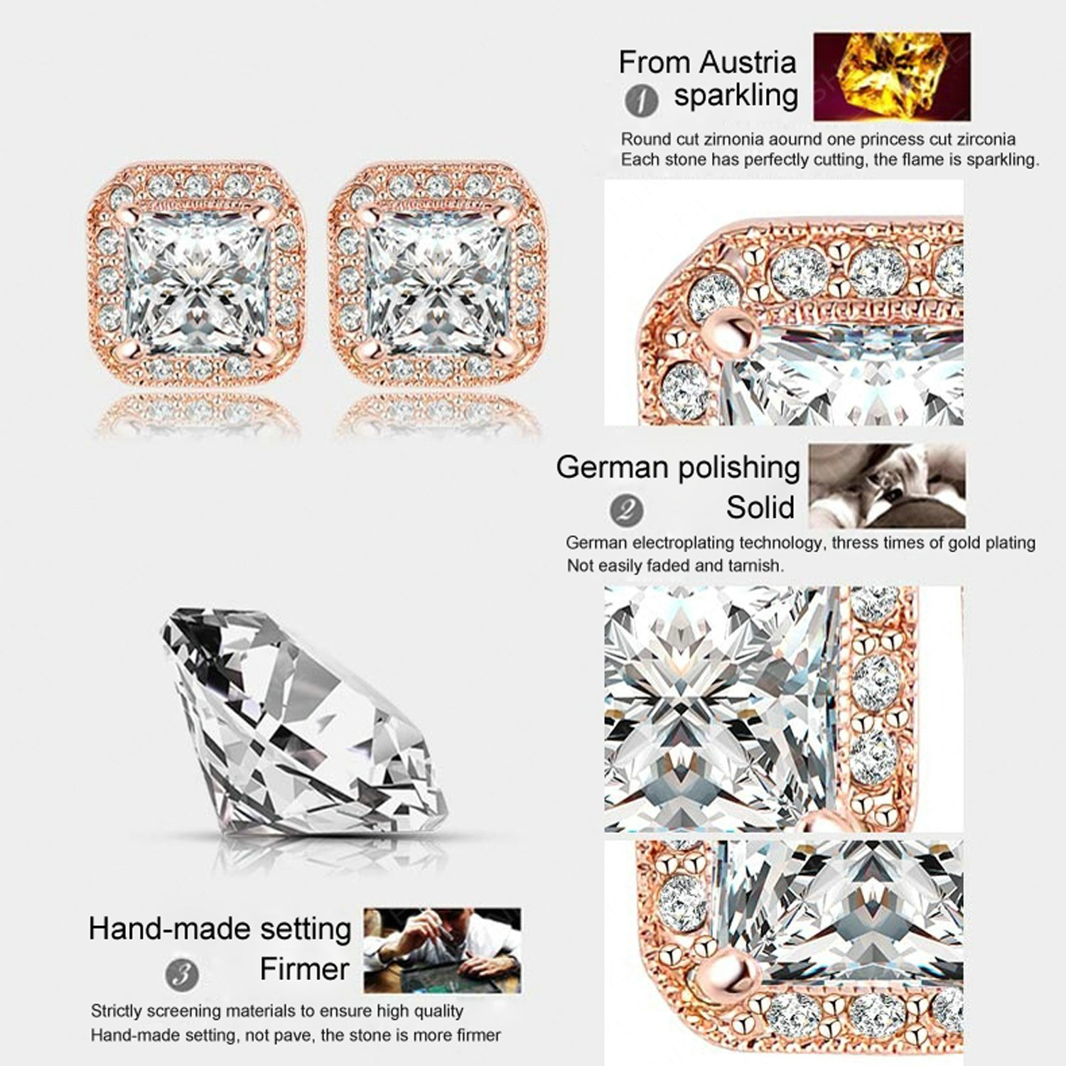 AnaZoz Jewelry 18K Gold Plated Square Stud Earring Rose Gold Plate/Platinum Plated SWA Elements Austrian Crystals Earrings by AnaZoz (Image #4)