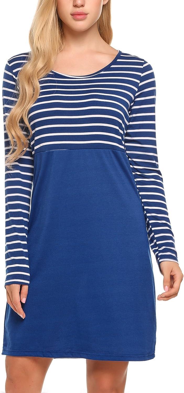 Parabler Damen Shirt-Kleid Blumen Langarm Shirt Casual Rundhals Langshirt Pullover Minikleid mit Tasche
