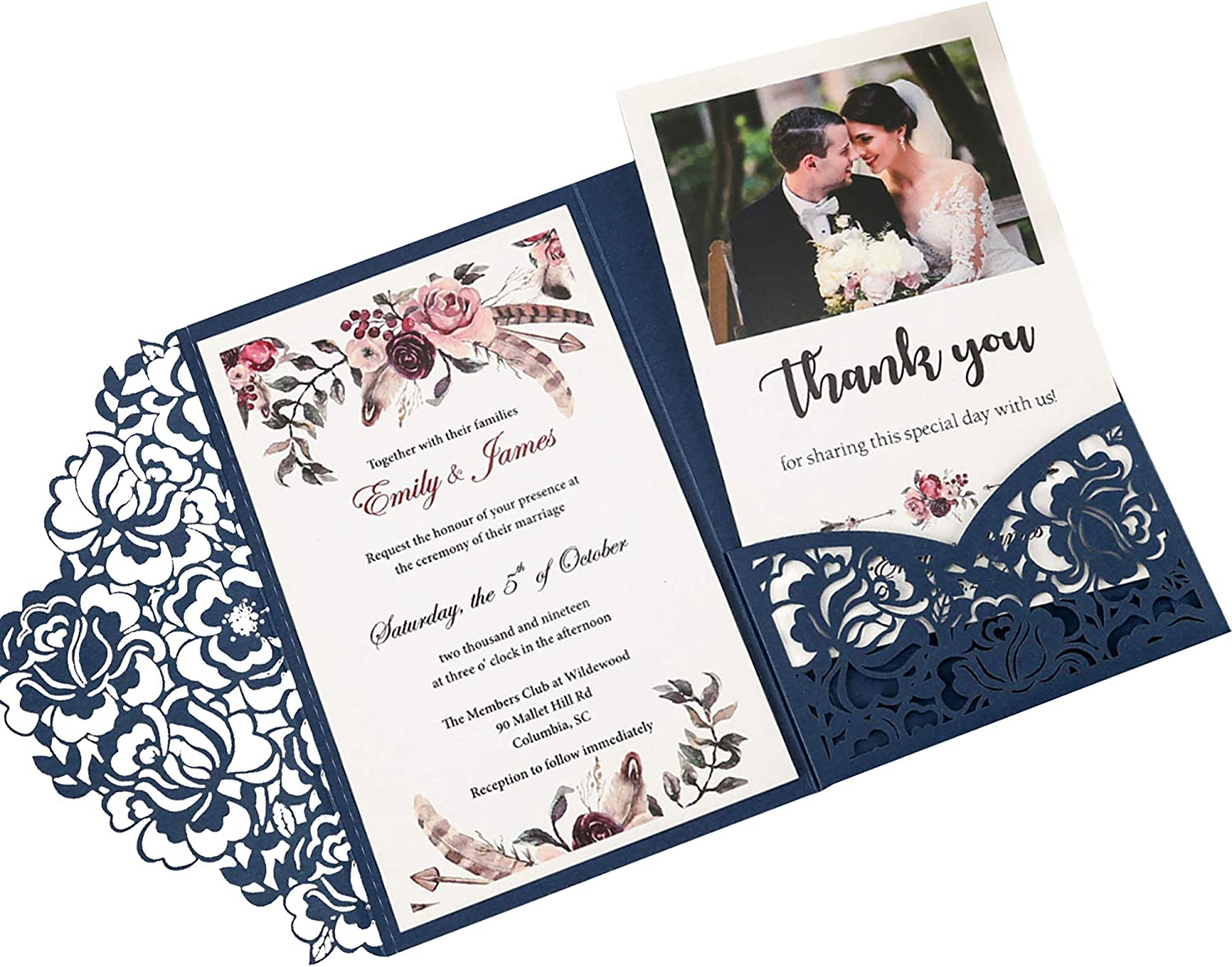 DORISHOME 4.7x7 Inch 50PCS Blank Navy Blue Wedding Invitations Kits Laser Cut Hollow Rose Pocket Wedding Invitations with Envelopes For Wedding Bridal Shower Engagement Invite