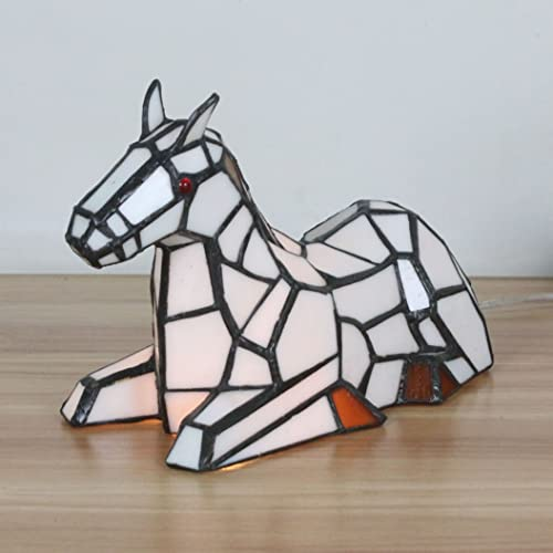 Tiffany Style Fresh Pastoral White Horse Table Lamp Children s Lamp Night Light