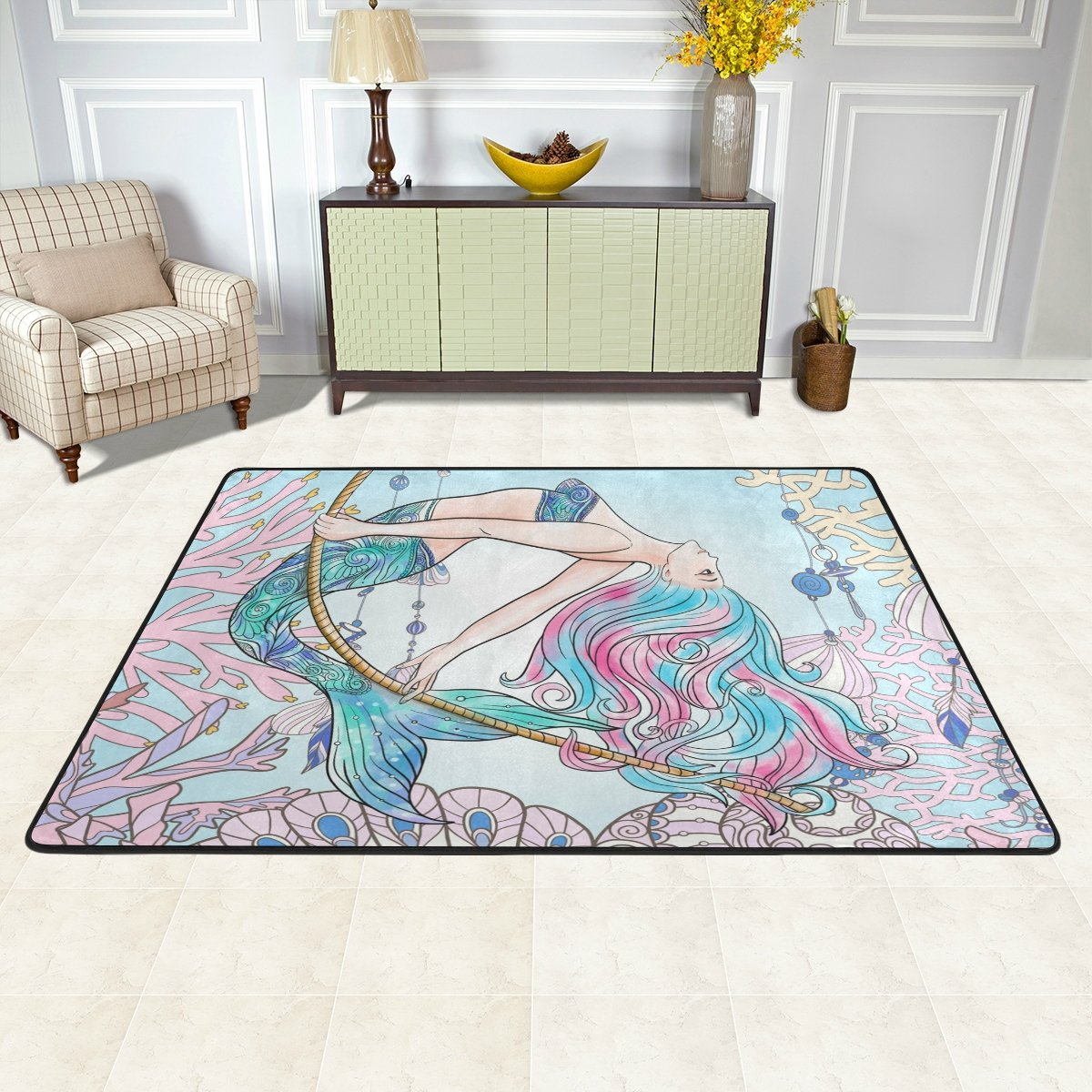 Ocean Animal Nursery Rug Floor Carpet Yoga Mat 1.7 x 2.6 ft Naanle Cartoon Mermaid Non Slip Area Rug for Living Dinning Room Bedroom Kitchen 50 x 80 cm