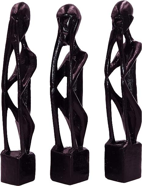 Bali Papaya Lot De 3 Statuettes Bois Afrique Africaine Ethnique Decoration Statue Sculpture Set Collection Ne Rien Dire Ne Rien Voir Ne Rien Entendre Amazon Fr Cuisine Maison