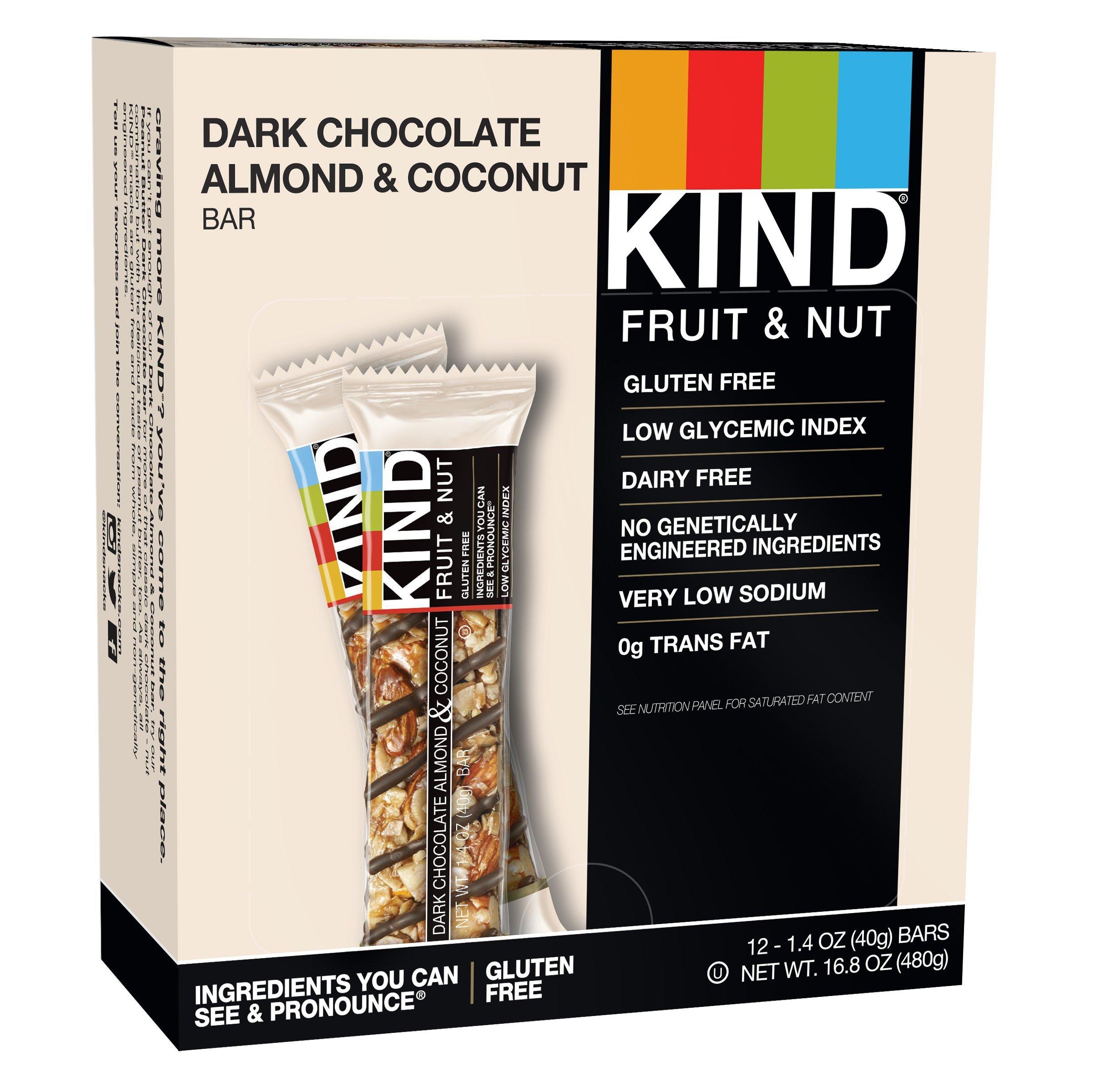 KIND Bars, Dark Chocolate Mocha Almond Coconut, Gluten Free, 1.4oz, 12 Count