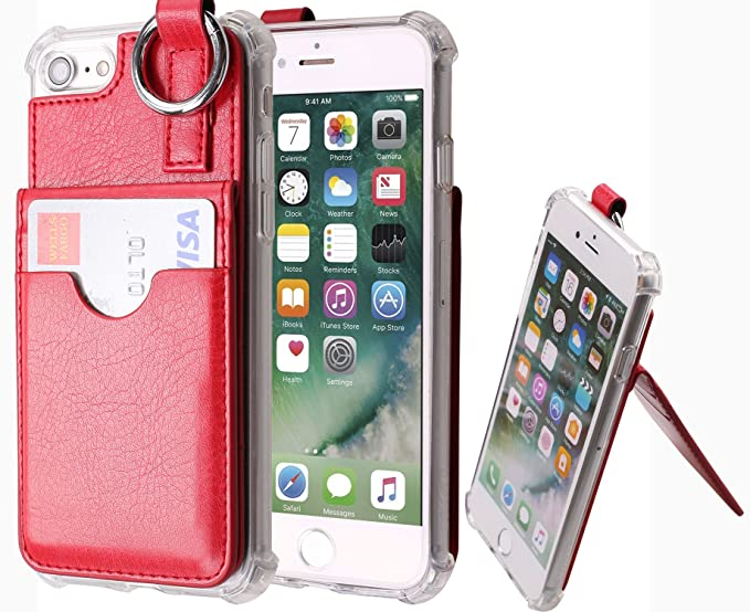 best service 13737 0a8b1 iPhone 7 Plus Wallet Case,[Pocket Ring Bumper] Credit Card Case [Kick  Stand] Protective Hybrid Case [Key Ring Holder] with 3 Cards Slot Wallet  for ...