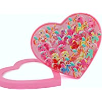 INFInxt 36 PCs Unicorn Shaped Silicon Adjustable Rings with Heart-Shaped Display Box for Girl's Birthday Party Return Gift