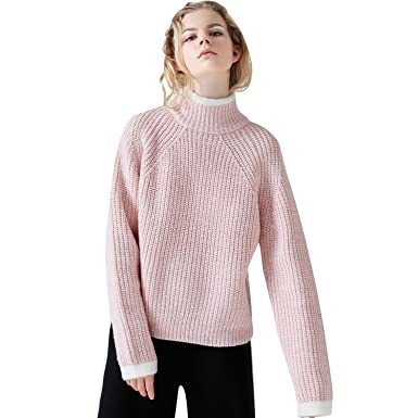 47a48ef214 TOYOUTH Women Sweaters Loose High Neck Khitted Long Sleeves Sweater Medium  Pink