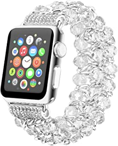 Fohuas Compatible for Apple Watch Bracelet 38mm 40mm Series SE 6 5 4 3 2 1, Luxury Crystal Beads pearls iphone Watch Band Fashion Metal Chain Elastic Stretch Wristband Strap for Women Girl, White