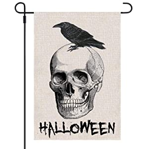 Keniot Halloween Garden Flag Skull Crow Burlap Garden Flag, Double Sided Yard Outdoor Decoration Flags, 12.5 x 18.5 inch
