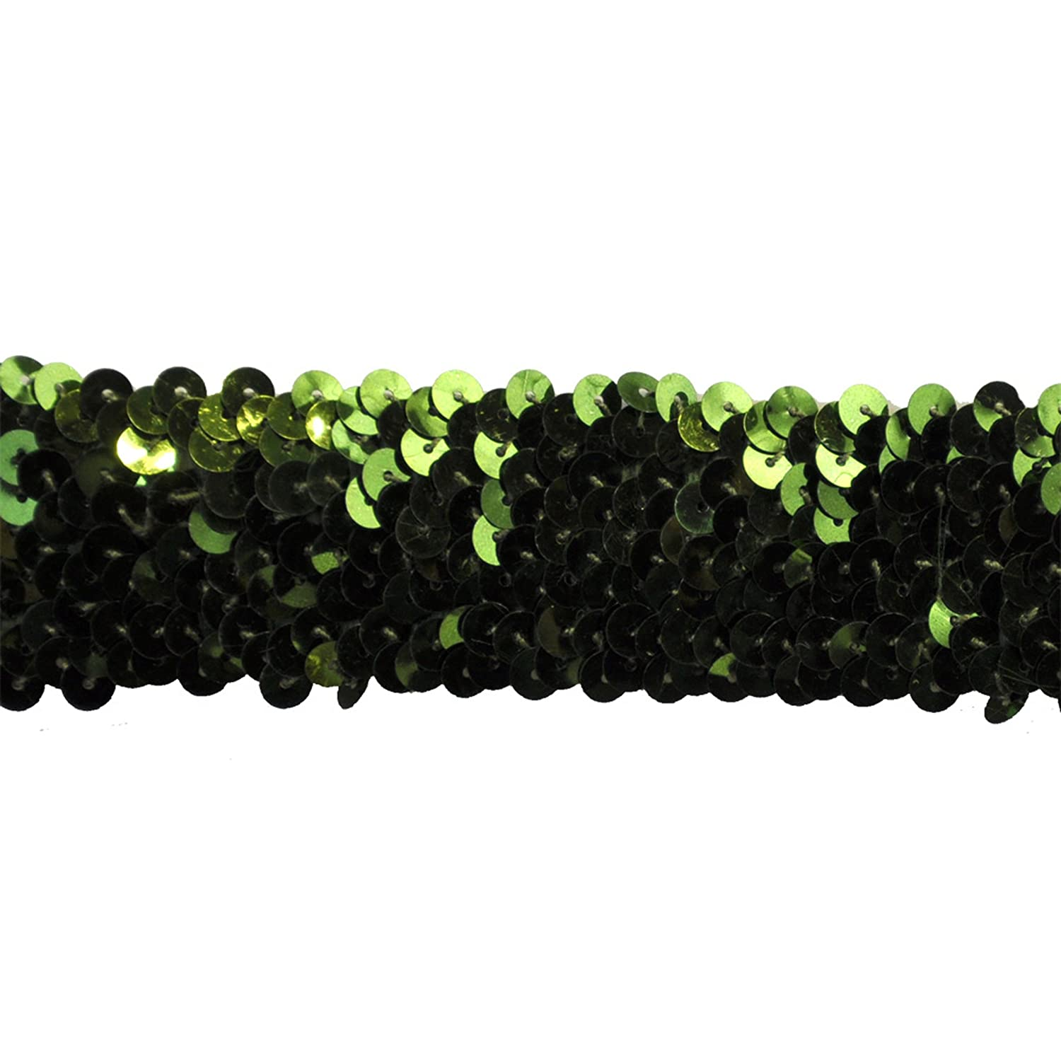 Olive Sequin Trim 1-1//2-Inch Wide Polyester Stretchable Rolls for Arts and Crafts 10-Yard
