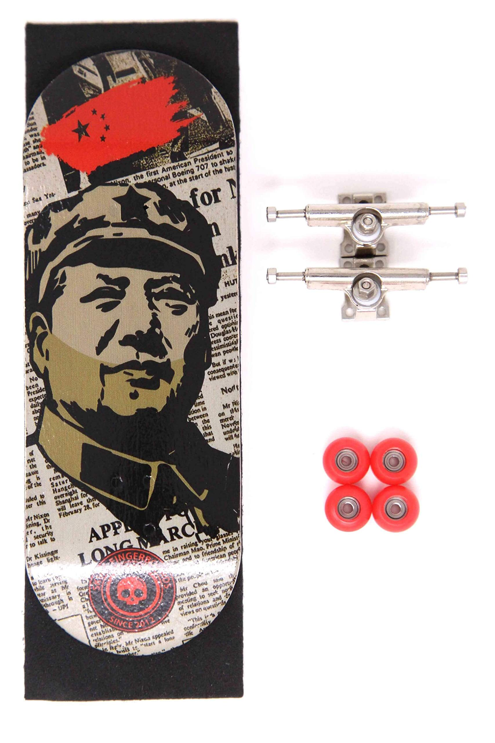 Skull Fingerboards Mao Complete 34mm Professional Wooden Fingerboard Mini Skateboard 5 PLY with CNC Bearing Wheels