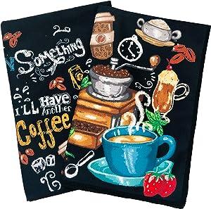 "UpNUpCo Microfiber Kitchen Towels Set Kitchen Hand Towels Kitchen Towels Dish Towels for Drying Dishes Tea Towels Kitchen Towels and Dishcloths Sets Towel Set Kitchen Towels 24""x16"" Coffee Wine"