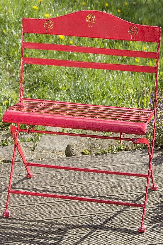 Banco de jardín Willy en rojo con setas. Hierro. Altura60 cm ...