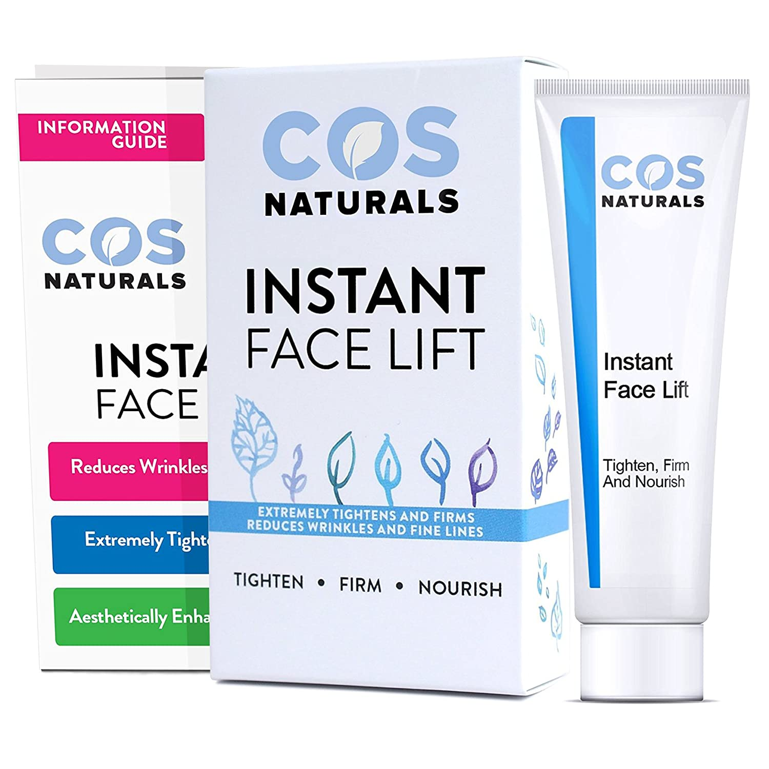 COS Naturals INSTANT FACE LIFT Tighten Firm And Nourish Natural Organic Ingredients Anti Wrinkle Cream Remove Signs of Aging Fine Lines Eye Puffiness Dark Circles Bags Wrinkles 30mL 1 fl oz COSNATURALS SKIN CARE COS-LIFT