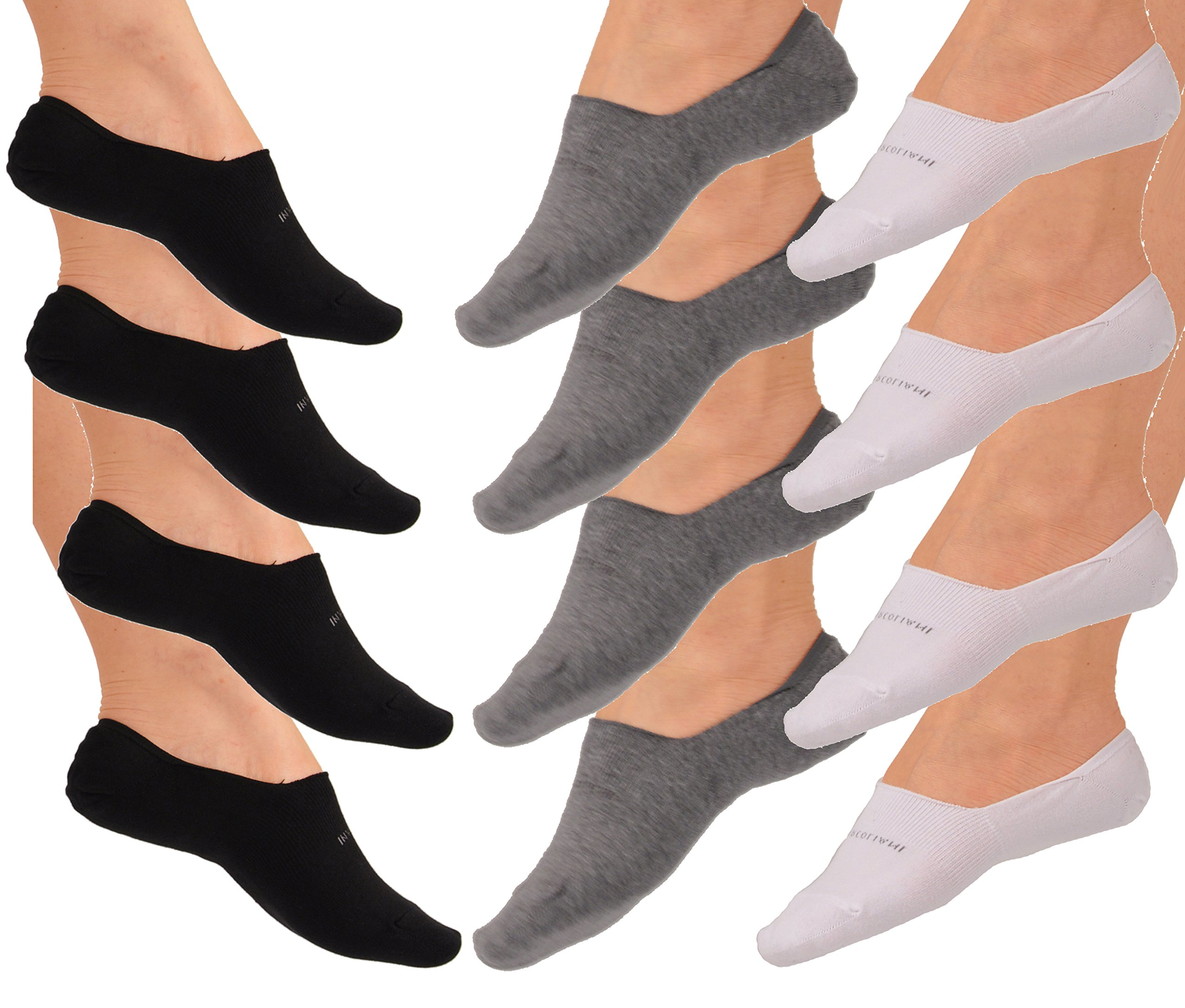 Twelve Pairs No Show Luxury Pima Cotton Italian Loafer Socks - 4 Pairs Each Black, White, and Flannel