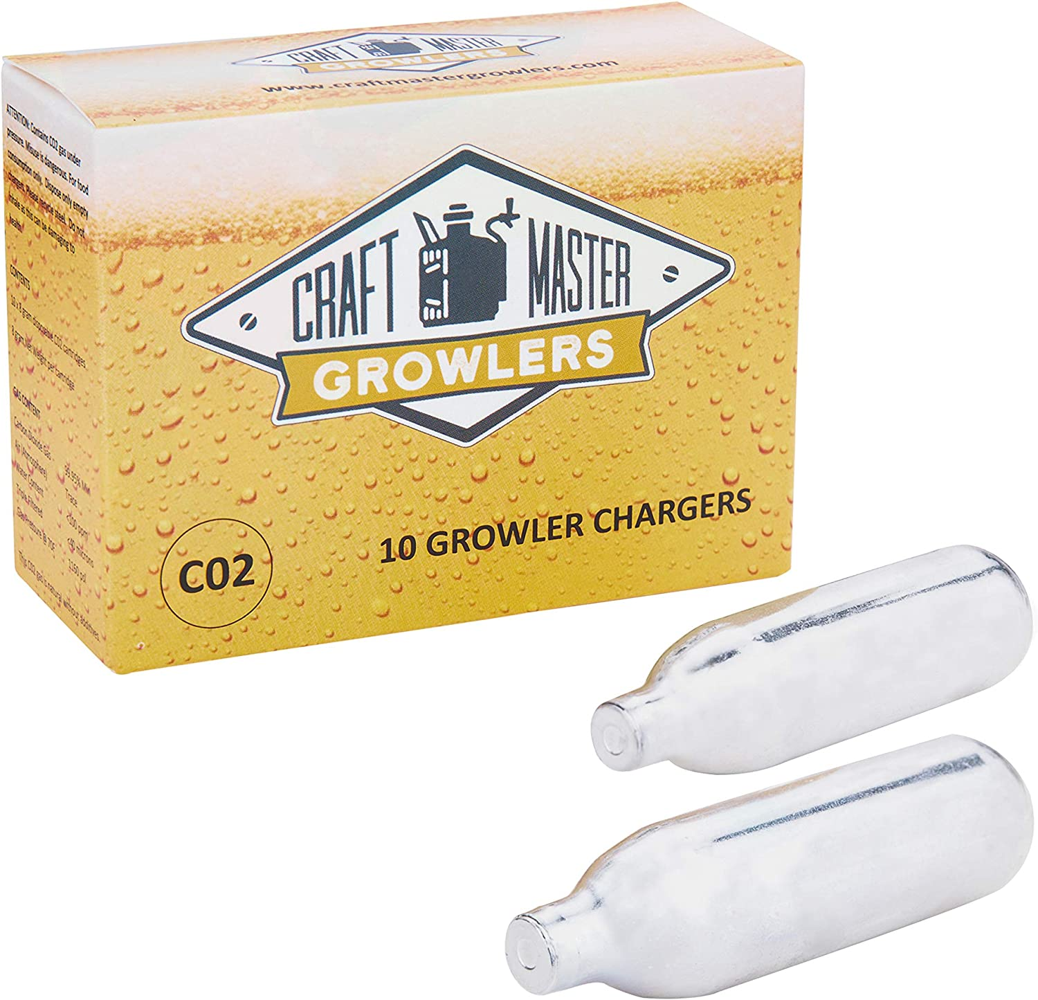 Food Grade CO2 Cartridges For CO2 Growlers - Non-Threaded 10 x 8 gram CO2 Cartridges