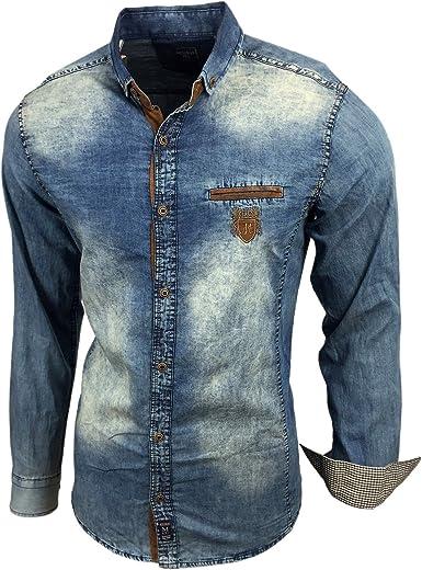 Baxboy Camisa vaquera de corte ajustado, aspecto desgastado, estilo vaquero, manga larga, 1127-J