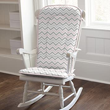 new concept 5ae0c 2dcfe Carousel Designs Pink and Gray Chevron Rocking Chair Pad