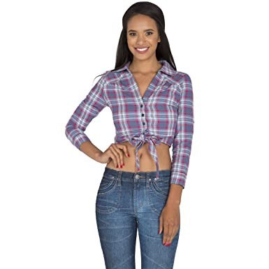 d1c5dfdf89 Standards   Practices S P Women s Blue Red Yarn Dye Plaid Button Up Collared  Crop Tops Tied