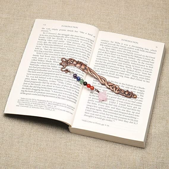 Rosenquarz Mokaba Kugeln CrystalTears Chakra Lesezeichen Metall Bookmark vintage 7 Chakra Lebensbaum Stein handgefertigt Buch Zubeh/ör
