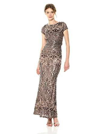 529f764ed57a1 Betsy & Adam Women's Cap Sleeve Long Sequin Gown: Amazon.in ...