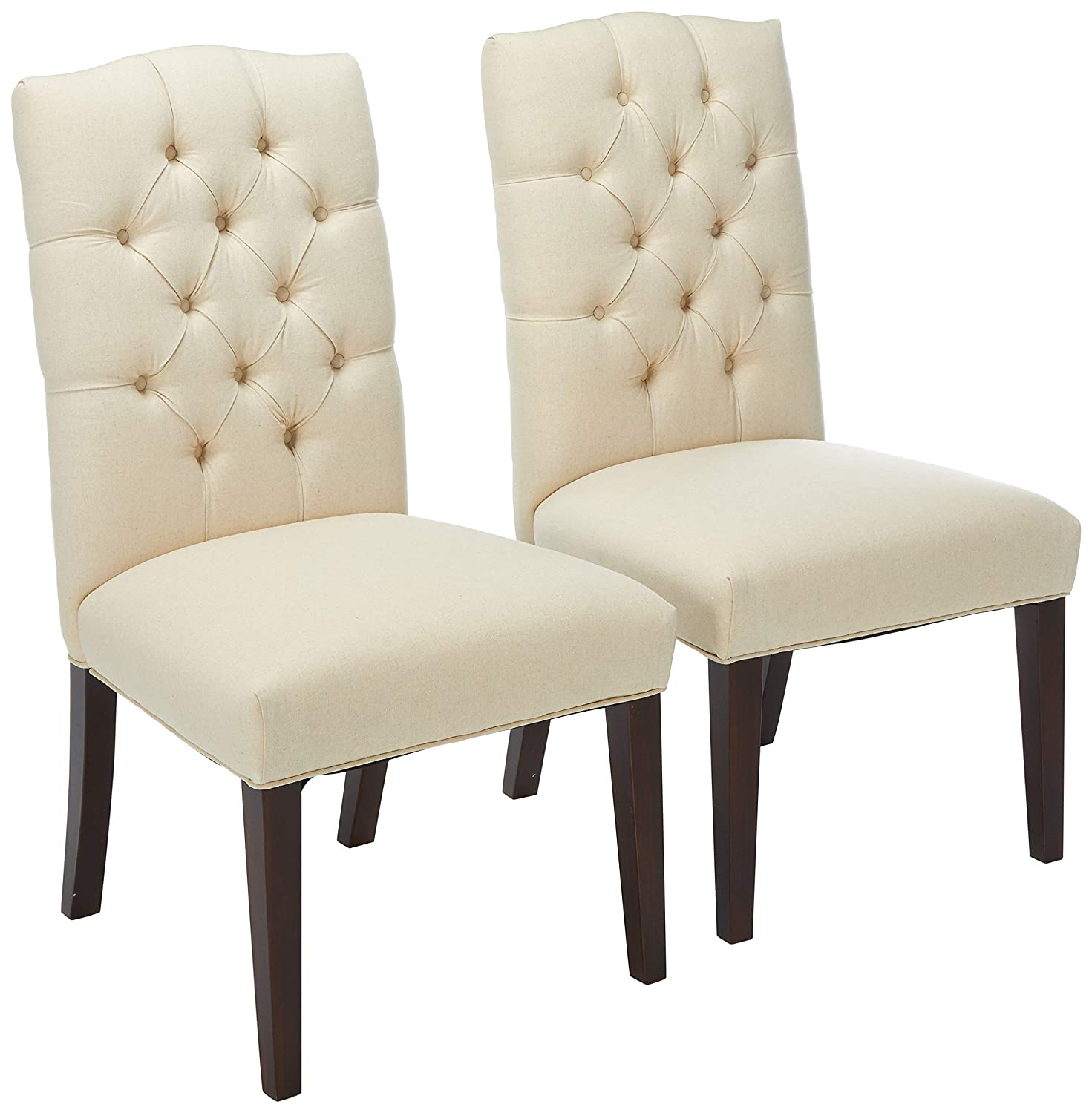 Amazon com great deal furniture clark elegant upholstered dining chairs w button tufted backrest set of 2 chairs