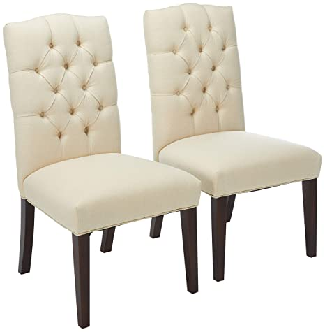 Surprising Christopher Knight Home Clark Elegant Upholstered Dining Chairs W Button Tufted Backrest Set Of 2 White Gmtry Best Dining Table And Chair Ideas Images Gmtryco