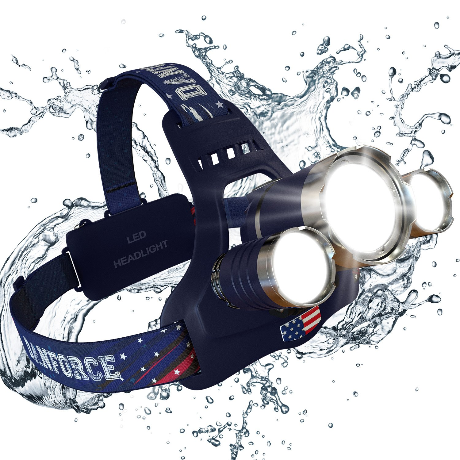 NEWEST And BEST Version Headlamp, Brightest Head Lamp Provide 6000 Lumens with 3 Original Cree Led. 2 Powerful Rechargeable Batteries, Maximum Comfort Headlamps For Outdoor & Indoor, With Red Light.