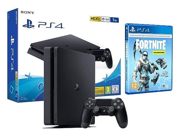 PS4 Slim 1Tb Negra Playstation 4 + Fortnite Lote de Criogenización ...
