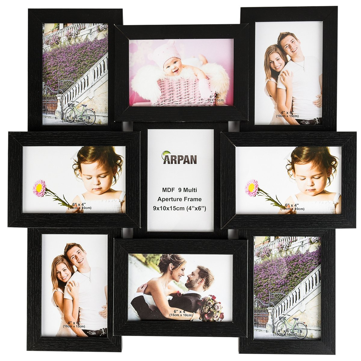 ARPAN MDF Multi Aperture Photo Picture Frame - Holds 9 X 6\'\'X4 ...