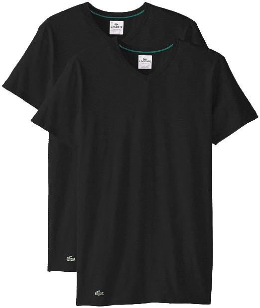 99d3d05dee Lacoste Men's 2-Pack Colours Cotton Stretch V-Neck T-Shirt: Amazon ...