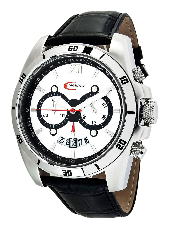 Creactive Herren-Armbanduhr Chronograph Quarz Analog Leder - CA120113
