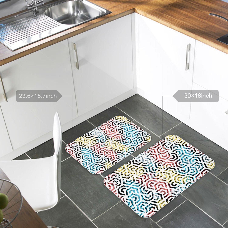 Modern Geometric Tiles Texture Pattern Printed Shoes Scraper Doormat Dirt Debris Mud Trapper Patio Rugs Low Profile Washable Carpet 15.7 x 23.6 Inch Indoor Door Mats for Front Door Entrance