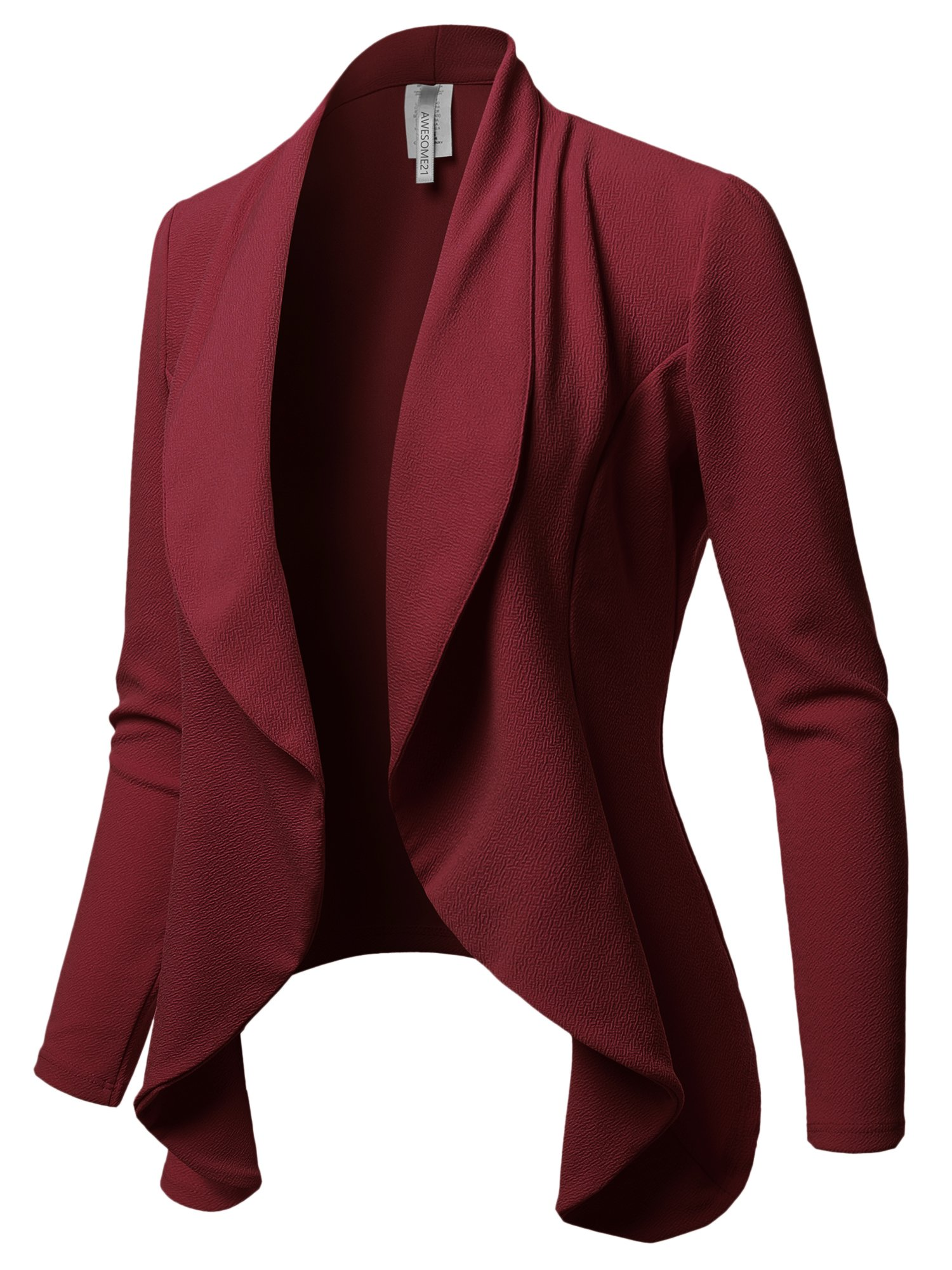 Awesome21 Solid Formal Office Open Front Long Sleeves Blazer - Made in USA Burgundy L