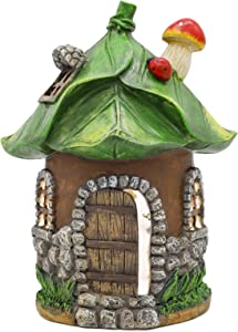 8 Inch Mushroom Fairy Garden House Statue, Outdoor Fairy House with Solar Powered Garden Light, Garden Cottage Figurines for Outdoor Home Yard Decor