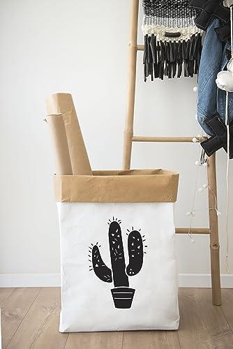 Storage Bin, Cactus Decor, Washable Kraft Paper Bag, Storage Basket, Toy  Storage