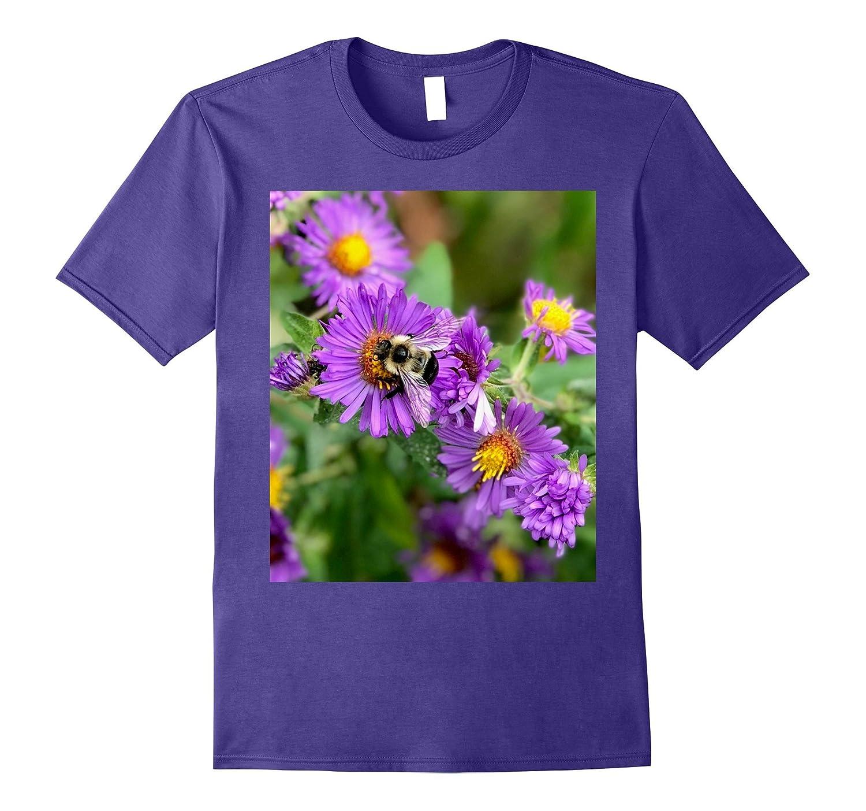 Black & White Bumble Bee on Purple, yellow & orange flowers-FL