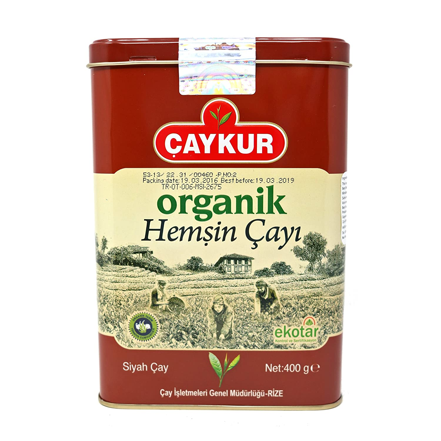 Caykur Organic Hemsin Turkish Tea in Metal Can, 400 Gr - 0.9 Lbs
