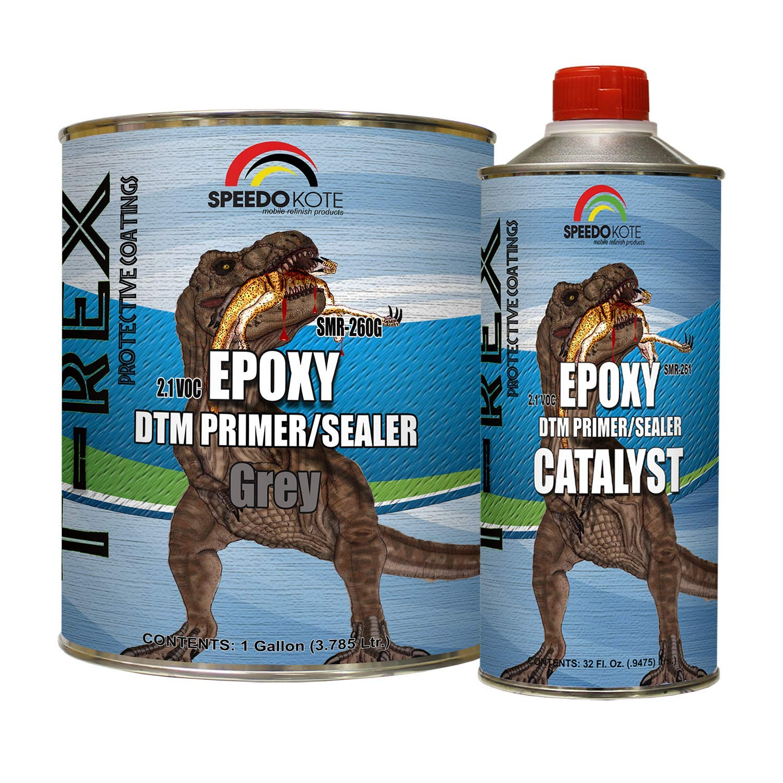 Speedokote Epoxy Fast Dry 2.1 Low voc DTM Primer & Sealer Gray Gallon Kit, SMR-260G/261