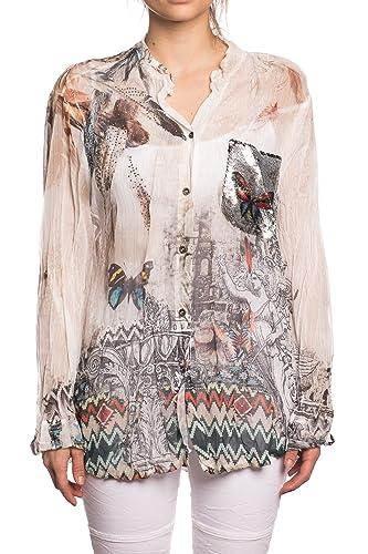 Abbino 12776 Blusas Tops para Mujer – Hecho en ITALIA – 3 Colores – Entretiempo Primavera Verano Otoño Mujeres Femeninas Elegantes Camisas Manga Larga Casual Vintage Oficina Fiesta Fashion