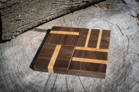 Set of Four Walnut and Oak Coasters by RockwellWoodwor​ks on Etsy