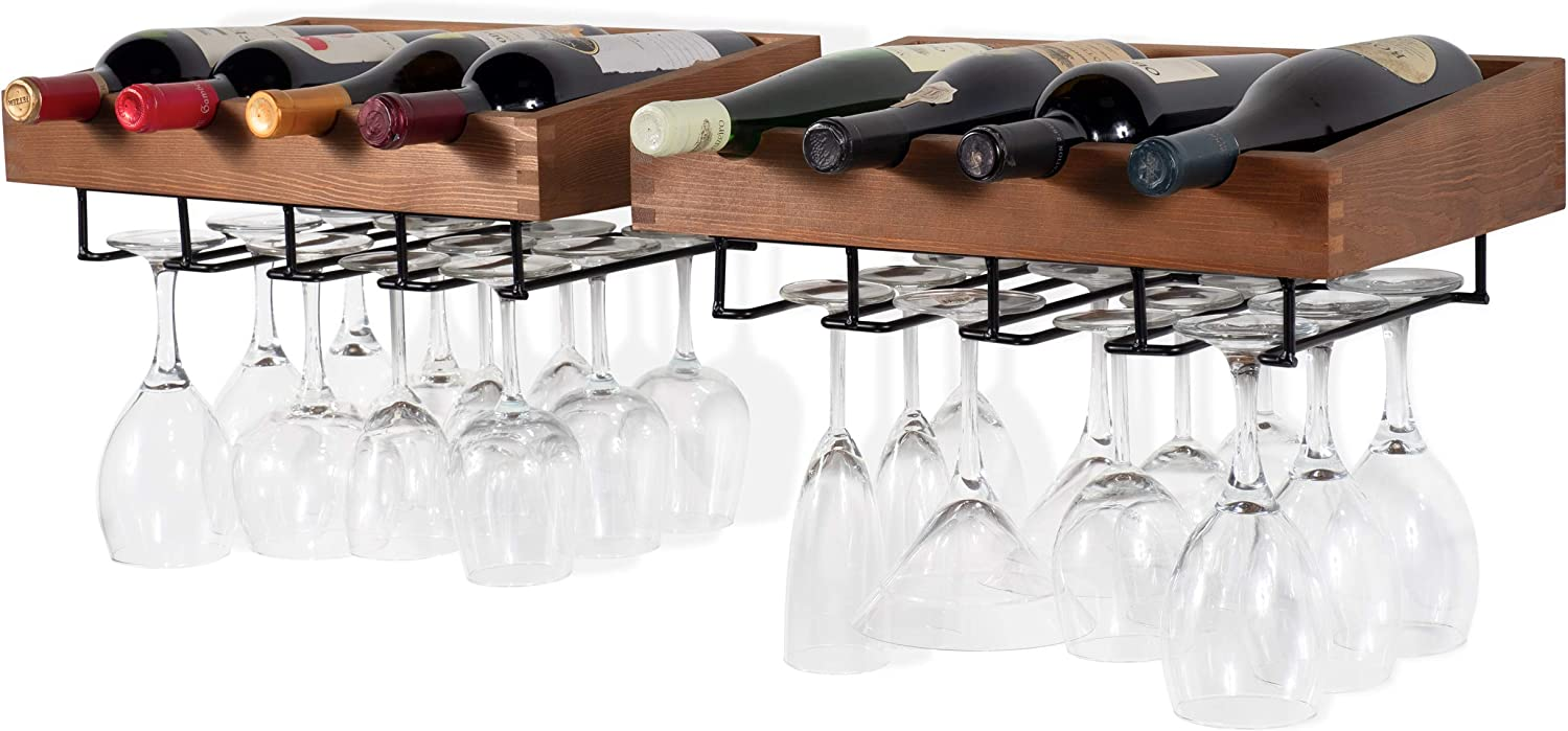 Brightmaison Wine Rack Wall Mounted - Hanging Bottle & Glass Holder - 8 Bottles and Stem Wine Glass Stemware Rack, Wood Walnut