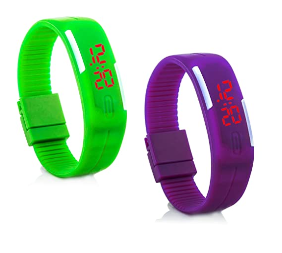 "2 x ""c.d.r. silicona reloj digital LED reloj de pulsera LED Watch Reloj"