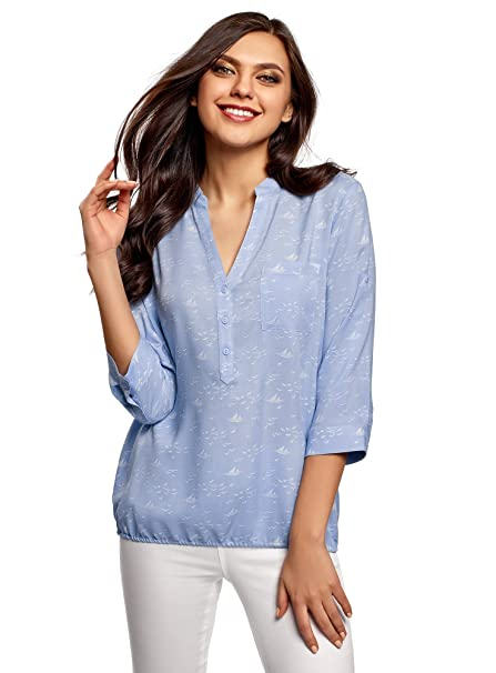 newest release info on fashion style oodji Ultra Women's Viscose Blouse with 3/4 Transformer Sleeve