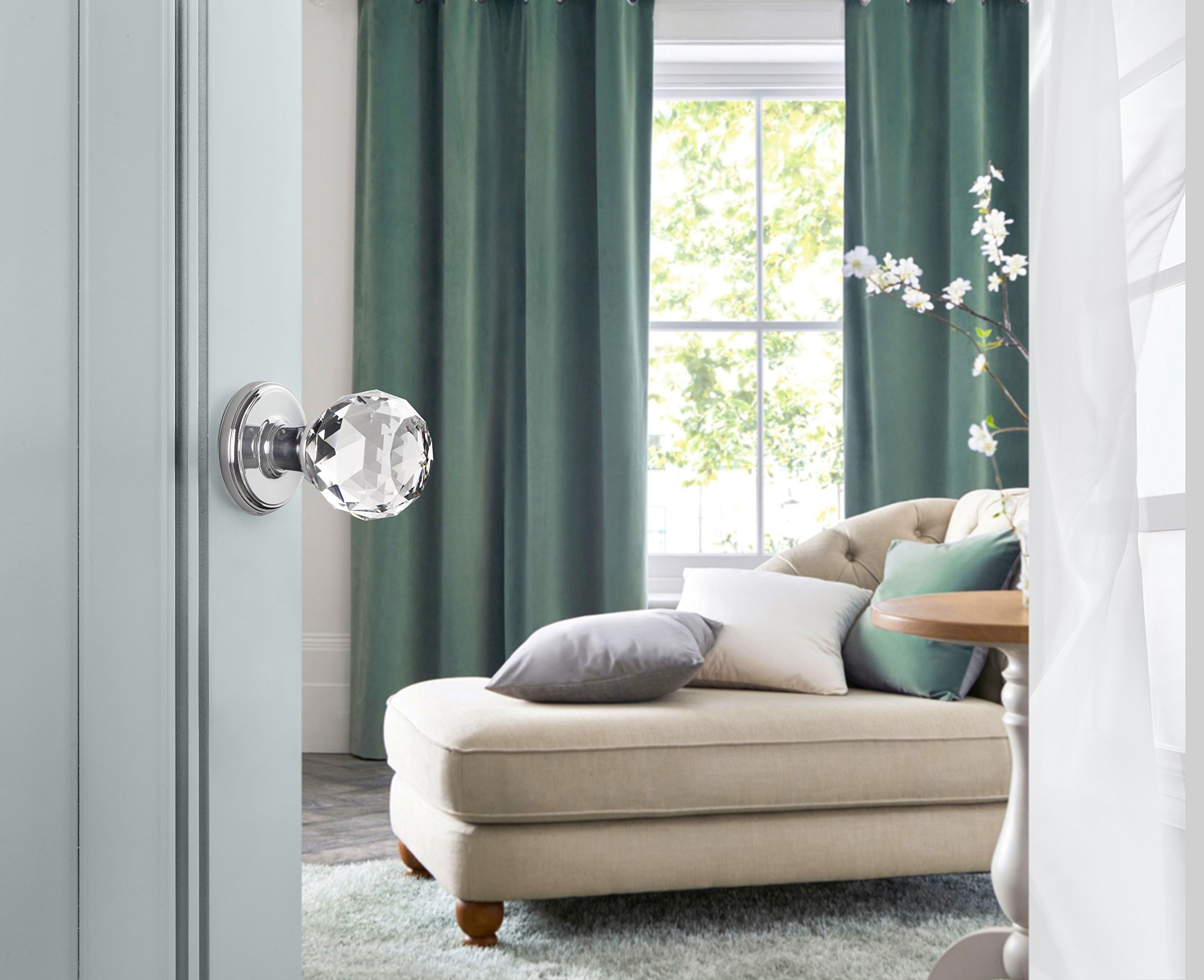 Decor Living, AMG and Enchante Accessories Faceted Crystal Door Knobs with Lock, Privacy Function for Bed and Bath, IRIS Collection, Polished Chrome by DECOR LIVING (Image #2)