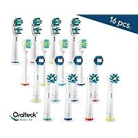 Oralteck 16 piezas - Cabezales de cepillos de dientes eléctrico compatibles con Oral B. Surtido de 4 modelos