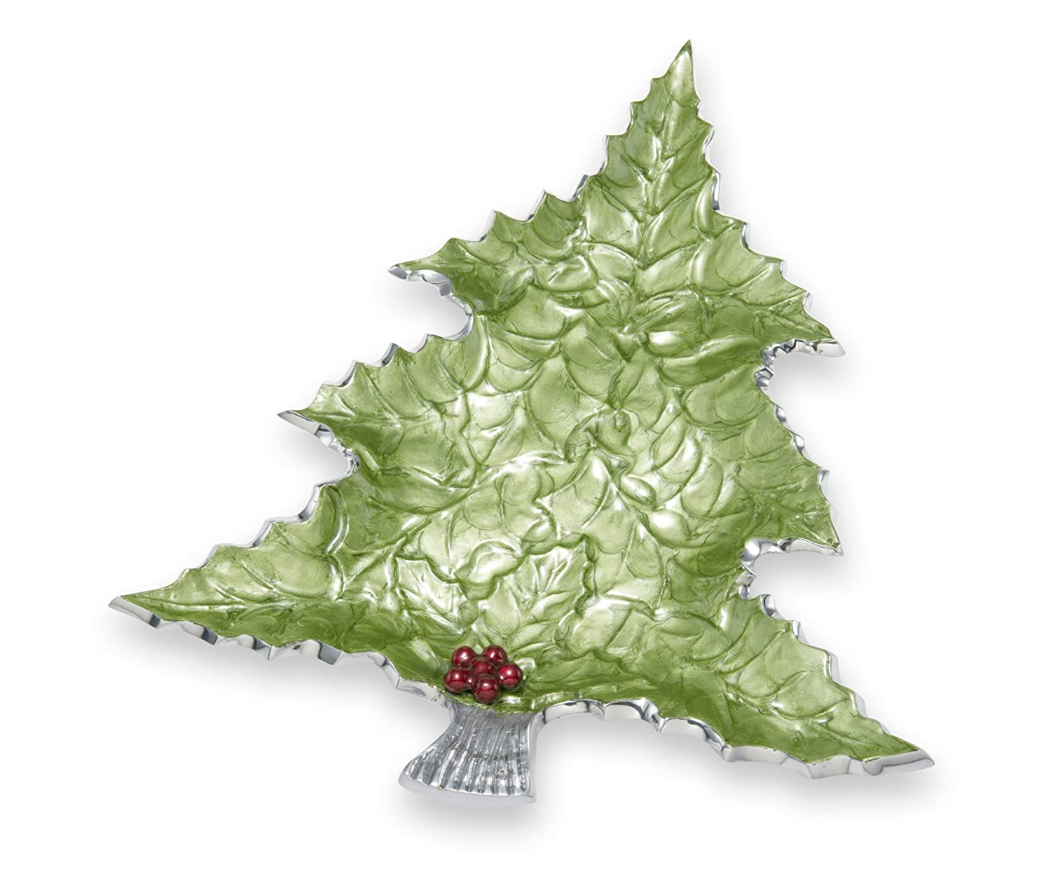 Holly Sprig 16-Inch Mojito Green Tree Platter