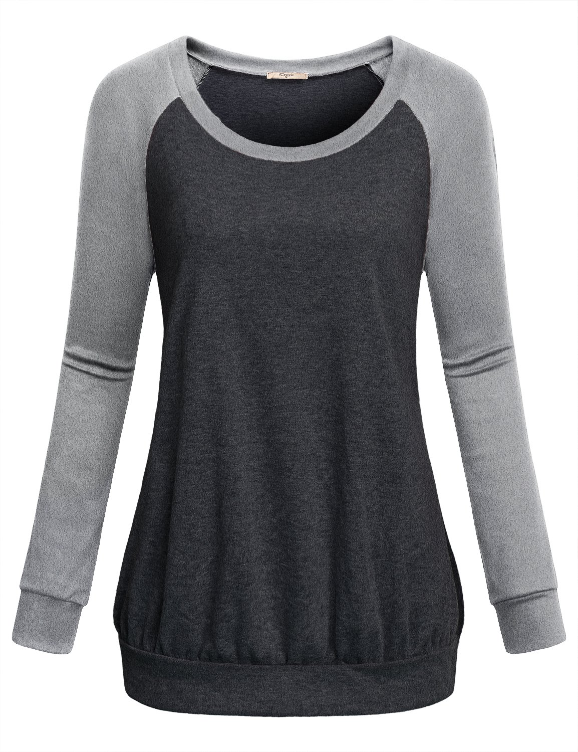 Cestyle Active Shirts for Women, Womens Basic Raglan Long Sleeve Crew Neck Tunic Tees Teen Girls Color Block Banded Hem Pullover Sweater Sweatshirts to wear with Leggings Grey XX-Large
