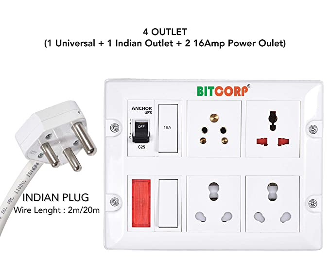 Bitcorp Extension Board With Long Wire 1 5mm 4 Socket 2 Switch 15 16 Amp With Mcb Polycarbonate White 2 M Amazon In Home Improvement